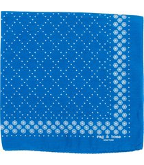women's rag & bone medallion bandana silk blend scarf, size one size - blue