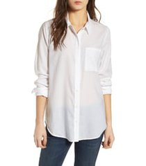 women's treasure & bond drapey classic shirt, size large - white