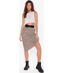 womens polka dot print bias cut high-waisted midi skirt - nude