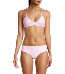 mikoh swimwear women's atlantic bikini top - cloud pink - size xl