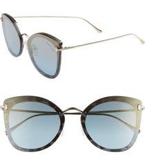 women's tom ford 62mm oversize butterfly sunglasses - light blue/ pale gold/ gold