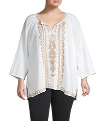 johnny was women's plus tracy peasant top - white - size 1x (14-16)