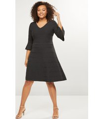 lane bryant women's textured fit & flare sweater dress 26/28 charcoal grey heather