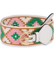 miu miu embroidered fabric belt - white