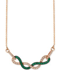 "le vian costa smeralda emerald (1/3 ct. t.w.) & vanilla diamond (1/3 ct. t.w.) fancy 18"" statement necklace in 14k rose gold"