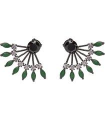 brinco ear jacket the ring boutique cristais verde esmeralda zp ródio negro - kanui