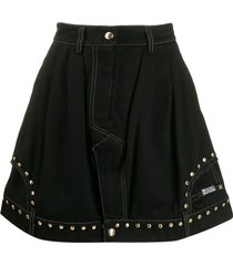 versace jeans couture flared studded skirt - black