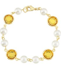 2028 gold-tone imitation pearl with yellow channels link bracelet
