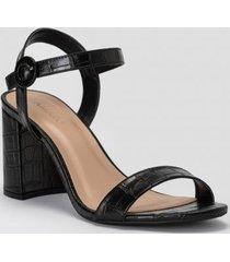 amaro feminino sandália básica fivela forrada, preto