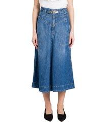 pinko belated denim skirt with logo buckle
