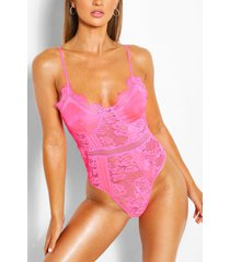 satin + lace body, pink