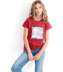 camiseta para mujer color vino,  manga corta, cuello redondo color-rojo-talla-xs