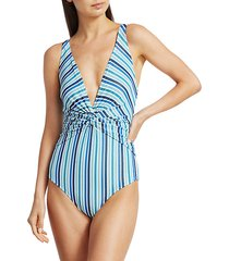 metallic striped one-piece swimsuit