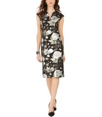 connected cap-sleeve metallic floral-print sheath dress