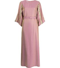 baruni x ramadan sequinned-band belted gown - pink