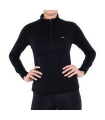 blusa segunda pele térmica zíper x-thermo® ds feminina solo preta