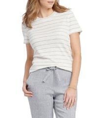 petite women's nic+zoe cape stripe t-shirt, size petite p - white