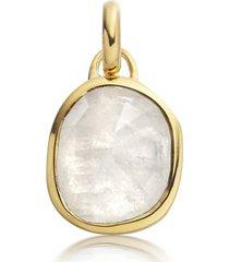 siren moonstone medium bezel pendant, gold vermeil on silver