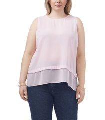 plus size sleeveless double layer blouse