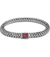 john hardy classic chain reversible 6.5mm bracelet, size medium in metallic silver at nordstrom