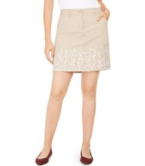 karen scott petite embroidered skort, created for macy's
