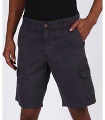 bermuda de sarja masculina cargo com bolsos preta