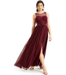 city studios juniors' embellished lace-top gown