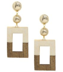ettika wooden color-block drop earrings