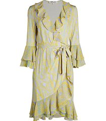 carli printed ruffle wrap dress