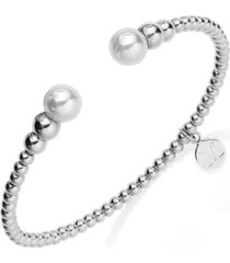 majorica silver-tone graduated bead and organic man-made pearl bangle bracelet