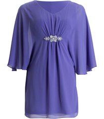 connected plus size embellished cape-sleeve dress