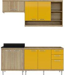 cozinha compacta completa multimã³veis com 4 peã§as sicãlia 5810 argila/amarelo - bege/incolor - dafiti
