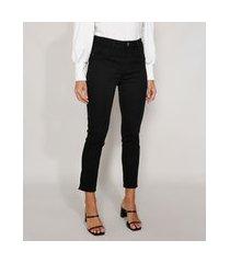 calça de sarja feminina cintura alta sawary cigarrete preta