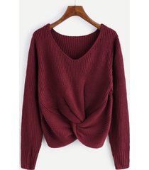 v neck sweater twist front sleeve long women top knit  casual pullovers fall new
