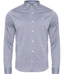 camisa masculina maquinetada sarjada - azul