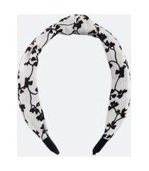 tiara larga detalhe nó estampa floral | accessories | branco | u