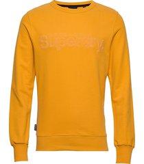 core logo faux suede crew ub sweat-shirt tröja gul superdry