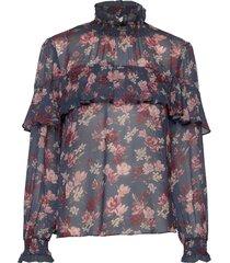 lilia blouse blus långärmad blå by malina