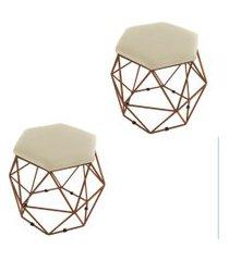 kit 02 puffs aramado bronze assento hexagonal suede bege - ds móveis