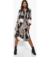 tall kettingprint midi blouse jurk, zwart