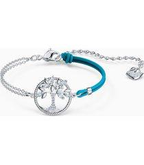 braccialetto swarovski symbolic tree of life, azzurro, placcato rodio