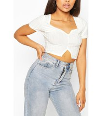 recycled rib notch front crop top