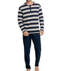 schiesser heren pyjama blauw met knoopjes