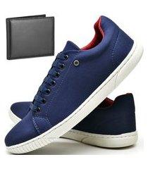 kit tênis sapatênis casual fashion com carteira dubuy 940el azul