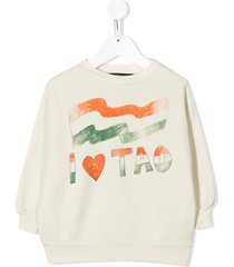 the animals observatory flag-print cotton sweatshirt - neutrals