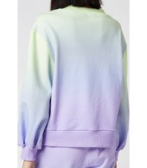 olivia rubin women's nettie sweater with crystal buttons - lilac green ombre - l