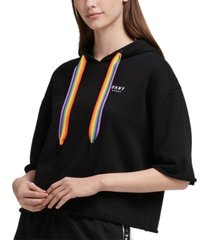 dkny sport rainbow-string cropped hoodie