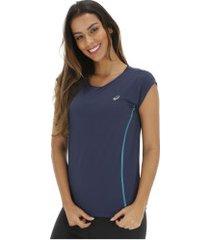 camiseta asics color ss tee - feminina - azul escuro