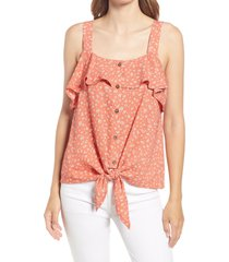 bobeau square neck button front tie front top, size small in terracotta floral at nordstrom
