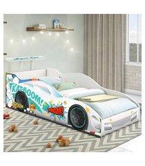 cama carro corredor solteiro branco casah